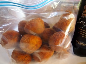 Frozen arancini bagged for later use.