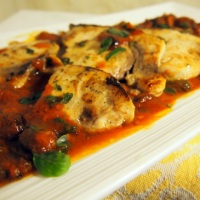 Swordfish with Tomato, Chilli and Caper sauce.