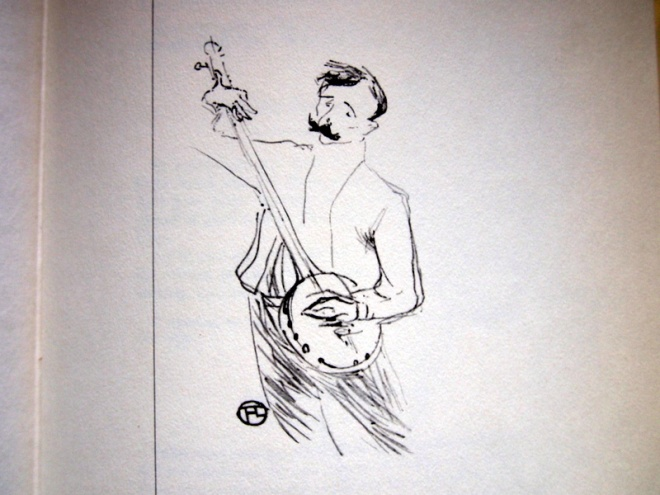 An original meny drawing by Toulouse Lautrec, from 'The Art of Cuisine'.