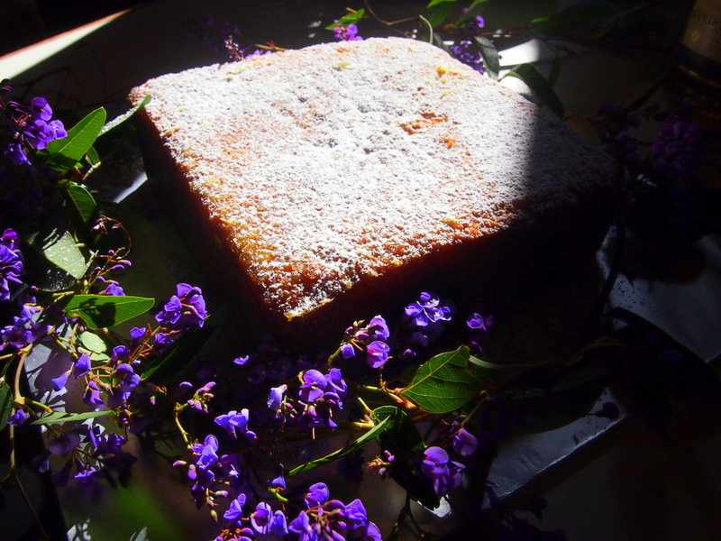 The cake photographed in odd winter light.