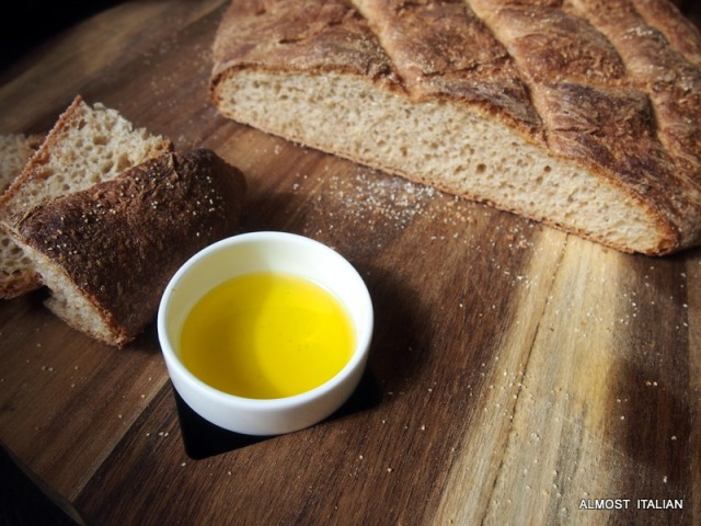 Simply annointed with young olive oil, the best  you can afford.