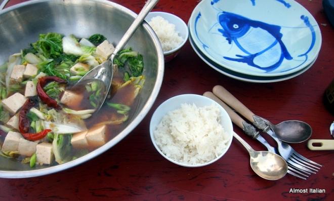 Szechan soup, tofu, wongbok, chilli, spring onions