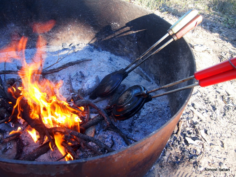 Jaffles cooked in the fire.