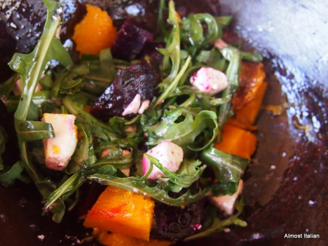 Fire roasted pumpkin and beetroot salad with fetta and rugola.