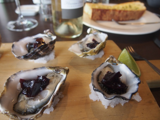 Fresh briny oysters at the Victory Hotel
