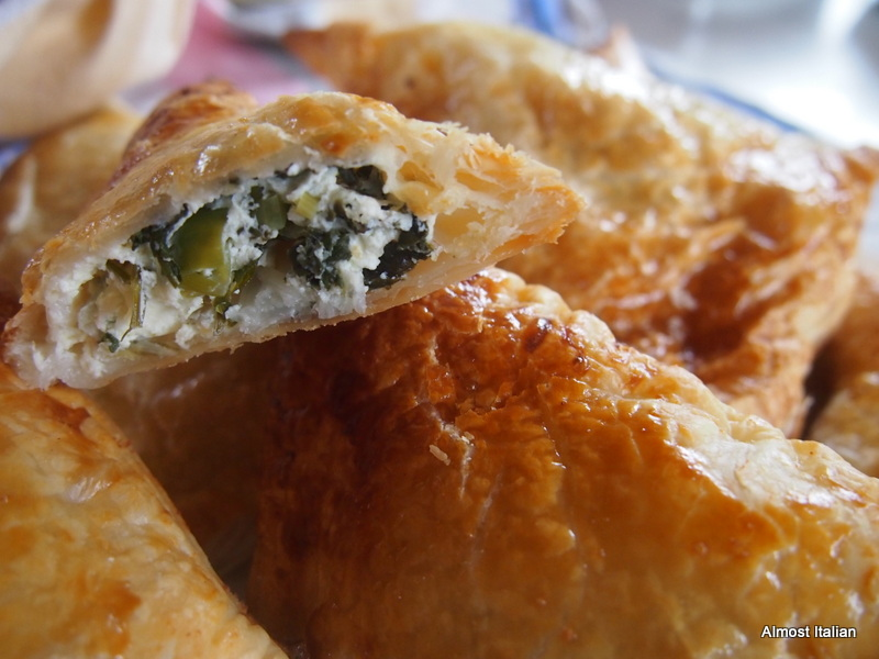 garden greens and fetta pasties