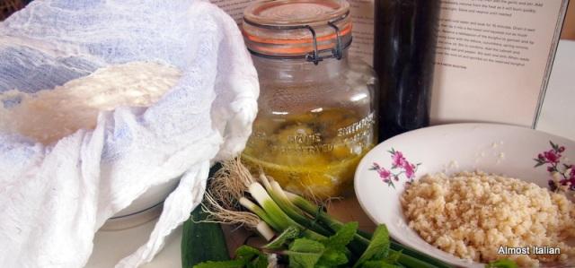 labne kept under oil in a mason jar.
