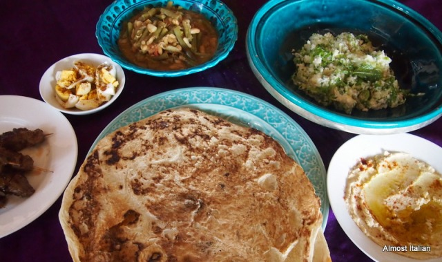 A simple middle eastern lunch at casa mia.