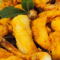 Crunchy Fried Calamari with Tahini Remoulade