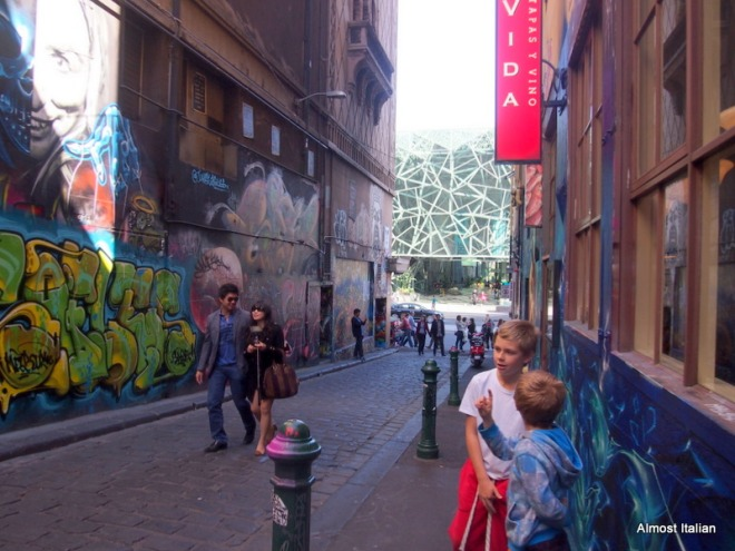 The boys are mesmerized by the graffiti art on the walls of Hosier Lane and  Rutledge Lane.