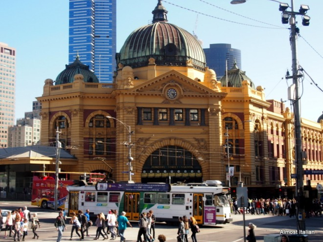 The iconic Flinders Street station, a short stroll to the train for a ride home.