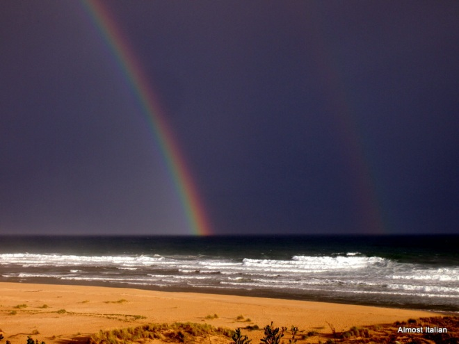 A Double rainbow. over the fifty mile beach at Lake Tyers, Gippsland, Australia.