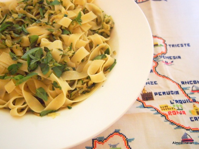 Tagliatelle, with robust flavours from the Mezzogiorno.