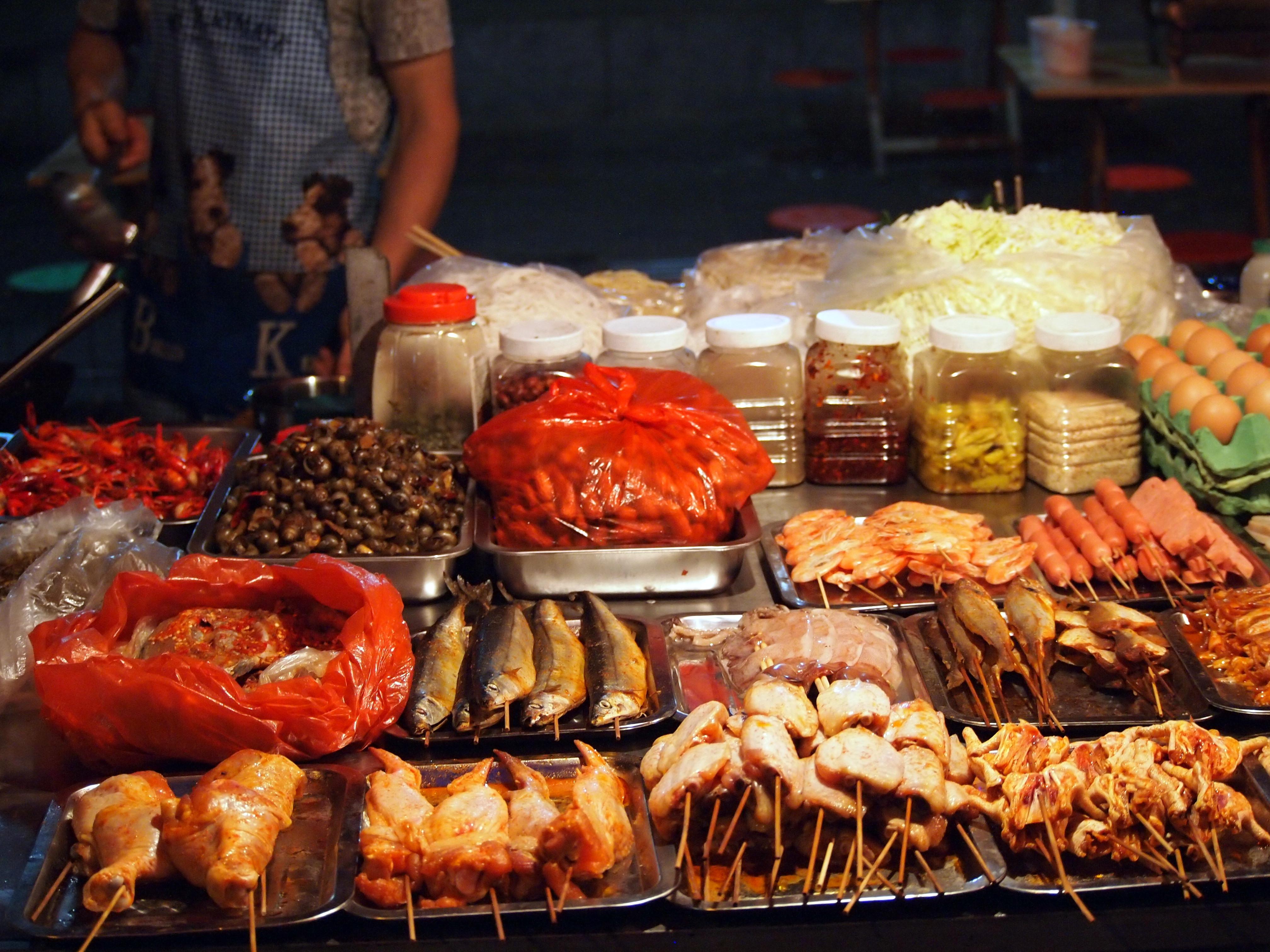 Night market food stall in Kunming.