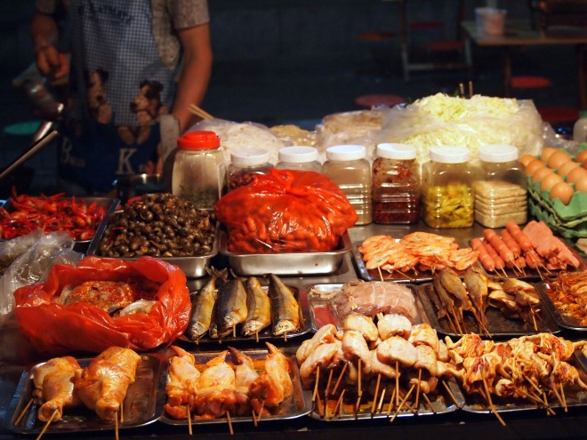 Night market food stall in Kunming.