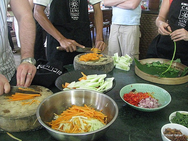 Preparing the curry ingredients at the Casa Luna Cooking school, Ubud.