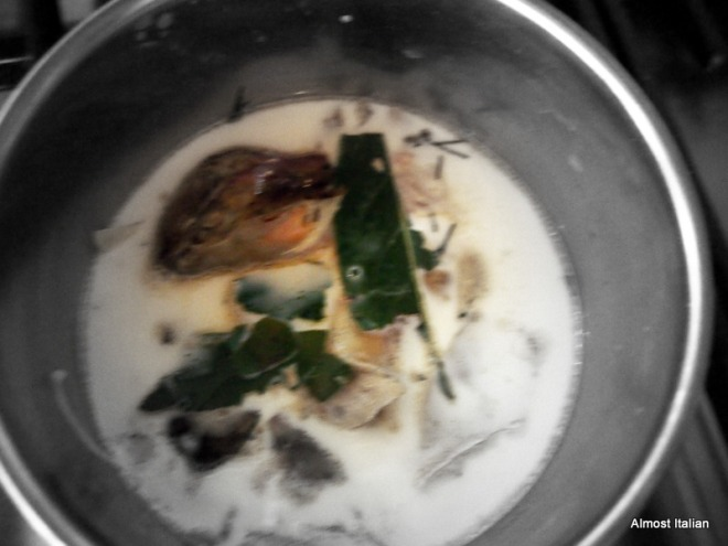 trout ones and head cooking in milk.