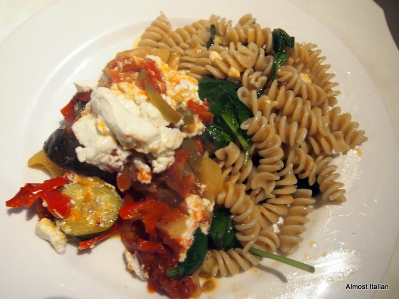 Briami served with spelt spirali and spinach
