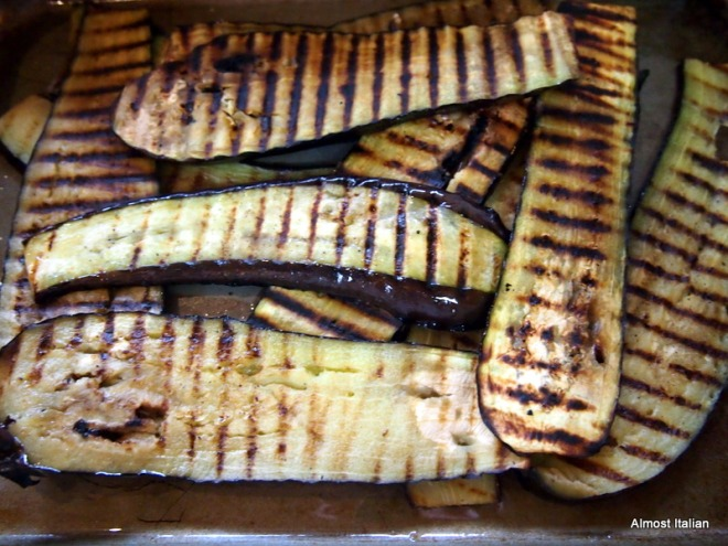 Grilled eggplant ready to rock and roll.