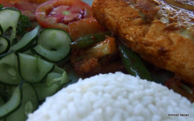 Grilled Mahi- Mahi fish, vegetables and rice.