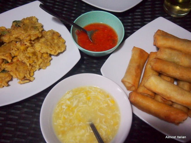 spring rolls, old fashioned  Chinese corn soup, and fritters. Homemade chilli sambal.