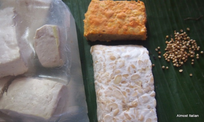 tofu, tempe bosok ( rotten tempeh) and today's tempeh.