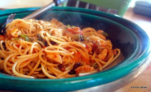 Spaghetti Putanesca con Pesce Spada