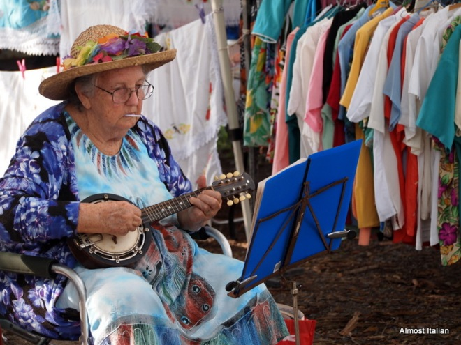 Never too old to Busk. Mossman Market, Far North Queensland.