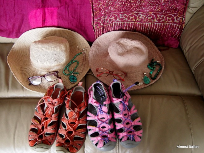 Hats, scarves, reading glasses, jewellery, shoes. Totally weird!!