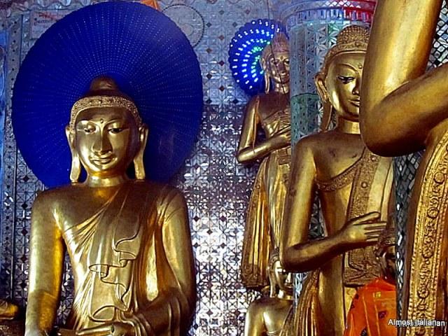 Buddhist temple, one of many, in the Shwedagon Pagoda,  Yangon, Myanmar.