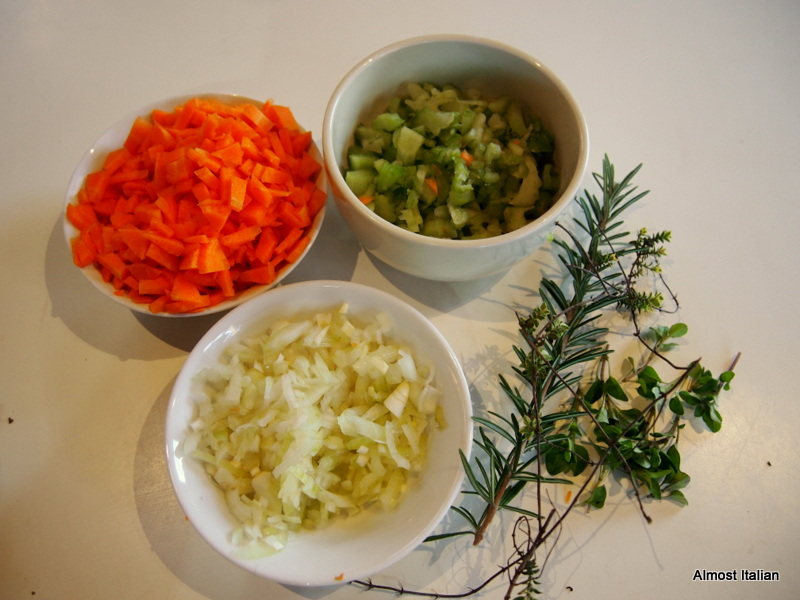 Soup base Ingredients for  a soffrito