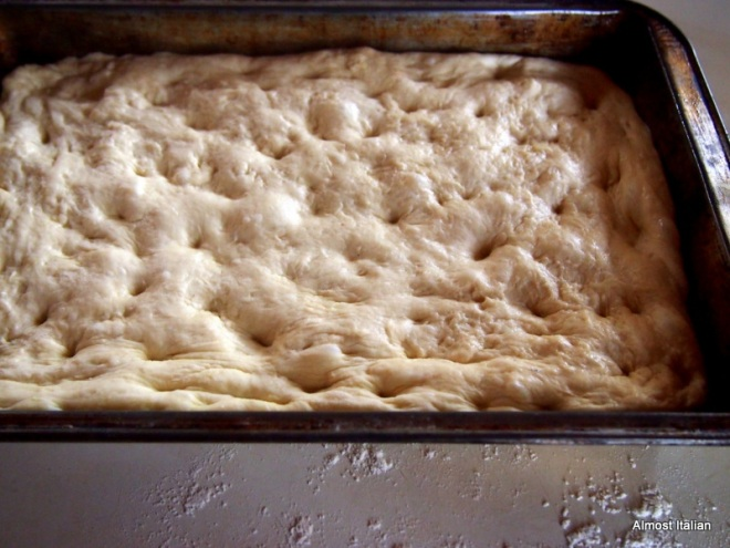 dough placed in rectangular baking dish