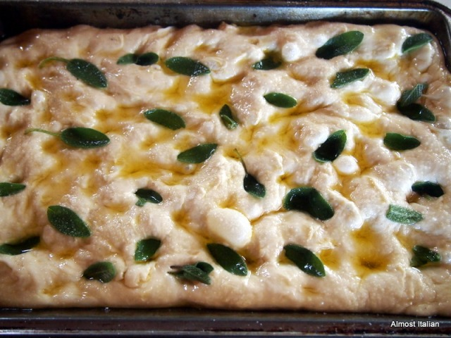 Before baking in a hot ( 220c) oven, the dough is dimpled, then liberally dressed with EV olive oil.