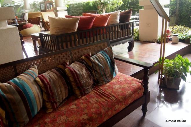 the lobby at the 3 Sis, Chiang Mai.