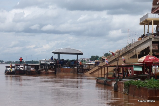 The busy port at Nong Khai: goods are loaded for a river crossing into Laos.