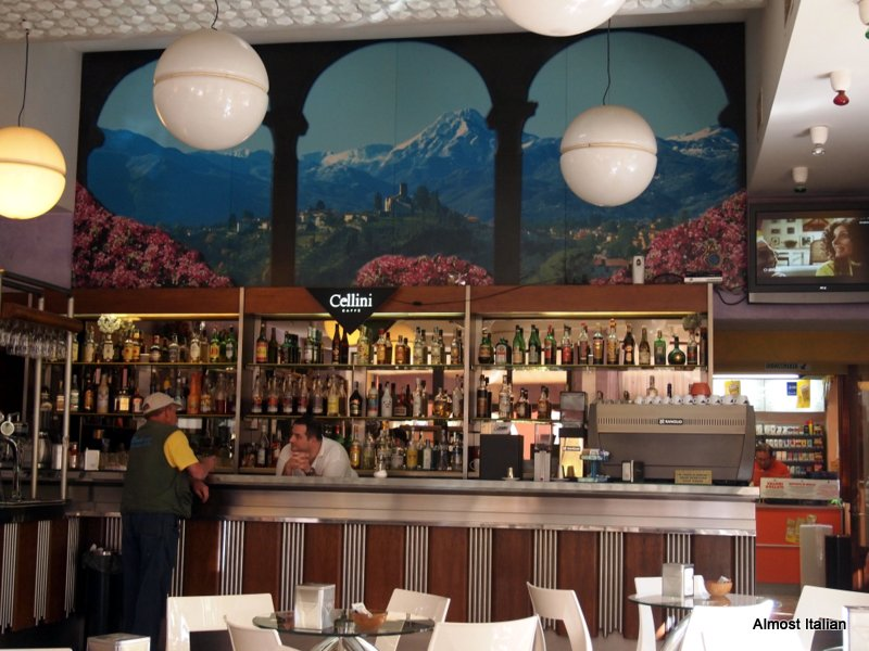 A civilised thing- a  bar at one of the tiny railway stations in the Garfagnana. Espresso or Vino?