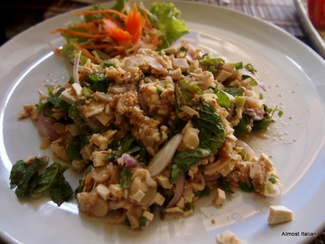 Mushroom Larb- chopped angel mushroom, stemp mushroom with special sauce, mint, red onion, chilli powder, chopped tofu, roasted rice and lime juice.