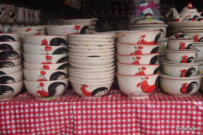 Painted rooster ware pottery.