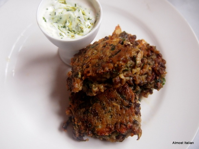 Lentil Fritters with yoghurt and dill. Bland!