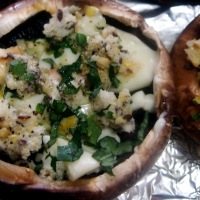 Funghi Ripieni. Portobello Mushrooms stuffed with Stracchino and Gremolata