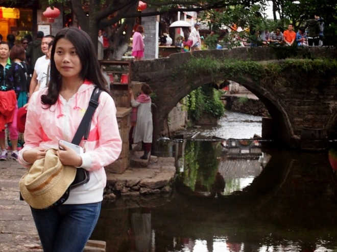 Girl on Bridge 3, Lijiang, Yunnan