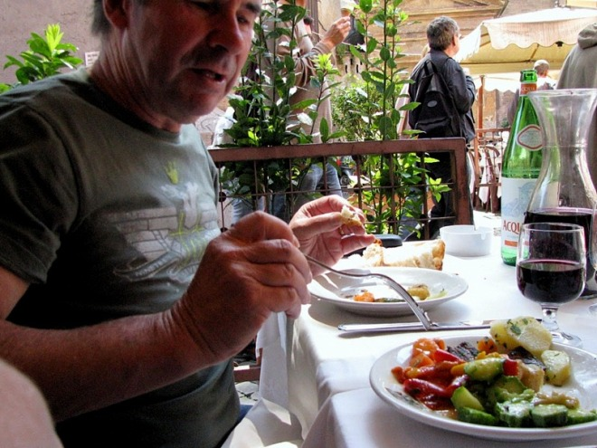 Mr Tranquillo in a trattoria in Trastevere. The side dish inclused some simply cooked and dressed zucchini striati. Once tasted, nevere forgotton.