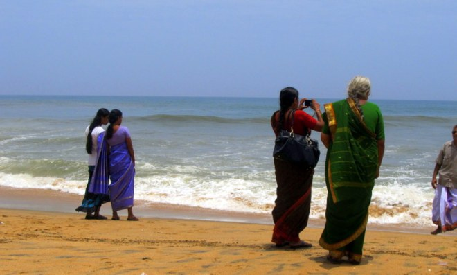 Grandmother, mother, daughter, friends. Varkala, India