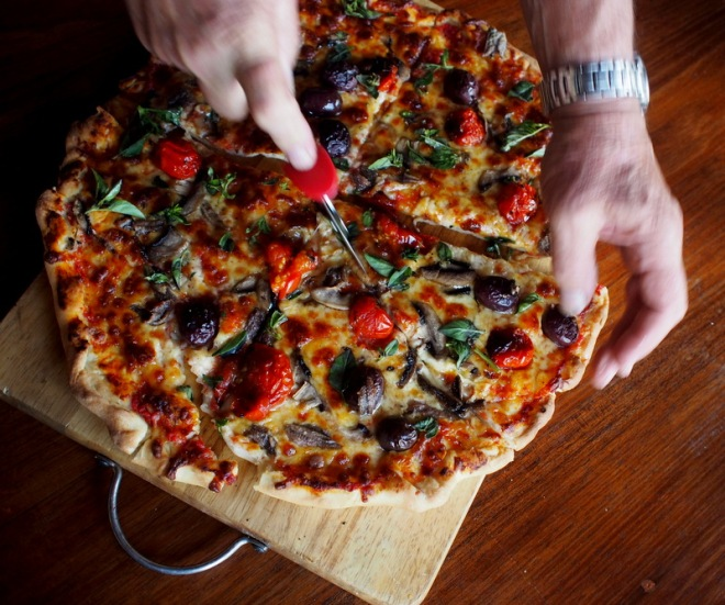 Garden Pizza- with roasted cherry tomatoes.