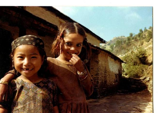 The Lost photos. Girls on the way to Birethani, Nepal, 1979.