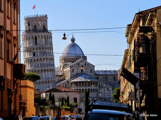 Arriving in Pisa, the tower dominates the skyline