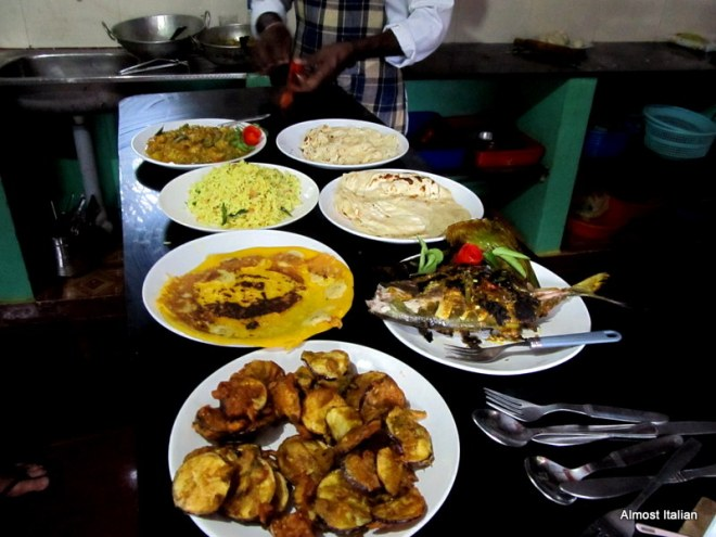 Cooking class in Varkala, Kerala, INda. Mr T and I made the food and then we had to eat it!!!