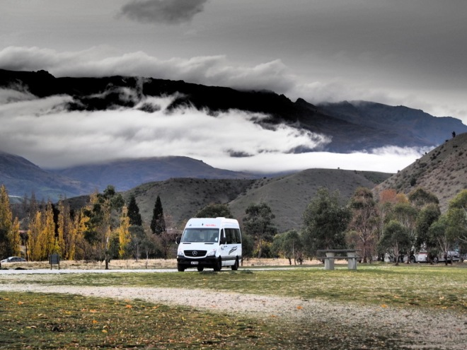 This years Mercedes Sprinter van- parked next to Lake xx, Central Otago