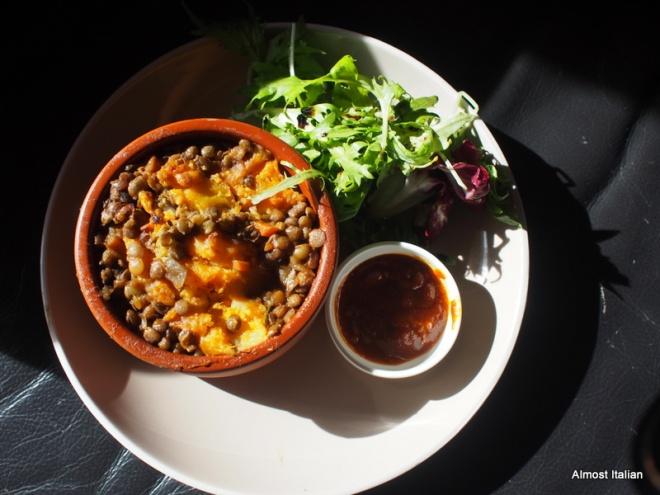Lentil and mushroom sherperd's pie, kumara mash. tomato kausundi