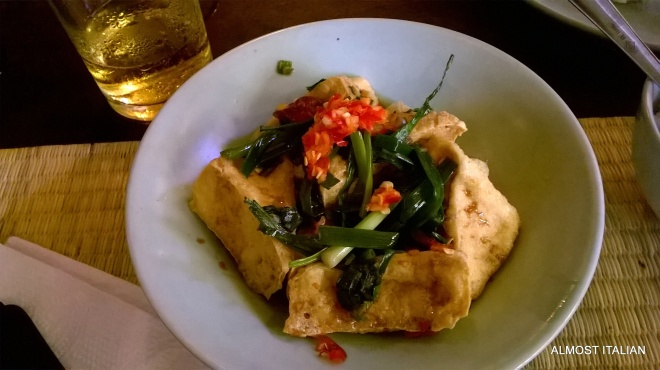 A little tofu and chilli dish on the side.